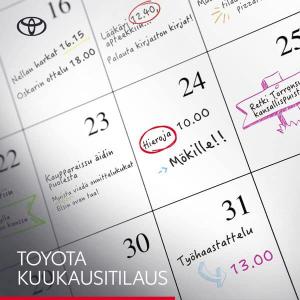 Kun elämä vie, Toyota kuukausitilaus kuljettaa. Tilaa auto käyttöösi vain 1kk:n sitoutumisajalla. Kuukausihinta sisältää mm. huo...