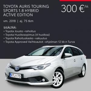 Kaiken kattava kuukausierä on helppo tapa hankkia Auris-, Yaris- tai Avensis-vaihtoauto jatkuvasti päivittyvästä valikoimastamme...