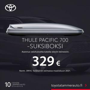 Tammer-Auto Elovainio juhlistaa 10-vuotissyntymäpäiväänsä talvisella tarjouksella: Thule Pacific 700 -suksiboksi hintaan 329 € (...