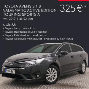 Kaiken kattava kuukausierä on helppo tapa hankkia Toyota-vaihtoauto. Kuukausierä sisältää rahoituksen, huoltosopimuksen, Toyota ...